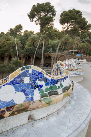 catalunia: BARCELONA, SPAIN - 22nd MAY, 2015: Details from the famous Park Guell located in Barcelona, Spain.