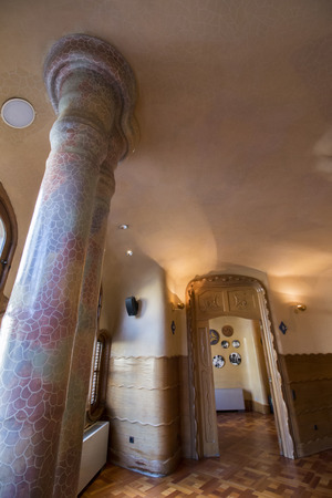 antoni: BARCELONA, SPAIN - 23rd MAY, 2015: Interior details of the famous Casa Battlo, modernism architect Antoni Gaudi located in Barcelona, Spain.