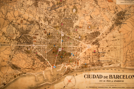 ancient map: BARCELONA, SPAIN - 22nd MAY, 2015: Ancient map of Barcelona city, Spain