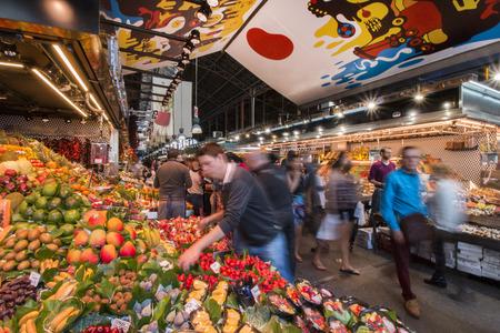 la boqueria: Interiors of the famous La Boqueria market located in Barcelona, Spain. Editorial