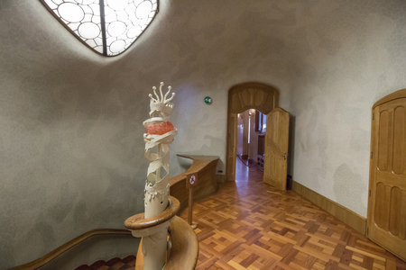 BARCELONA, SPAIN - 23rd MAY, 2015: Interior details of the famous Casa Battlo, modernism architect Antoni Gaudi located in Barcelona, Spain.