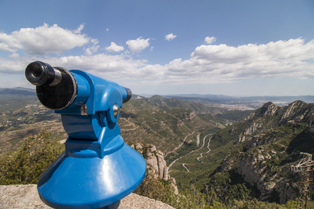 benedictine: View of the beautiful mountains of Montserrat where a famous benedictine abbey is located near Barcelona city, Spain. Stock Photo
