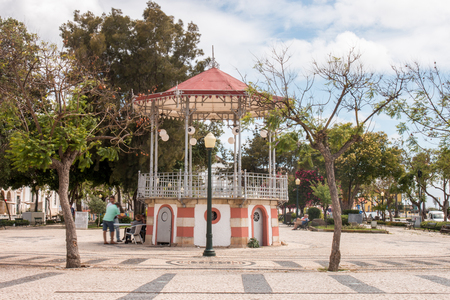 bandstand: View of the beautiful bandstand located in the Garden Manuel Bivar, in Faro, Portugal.