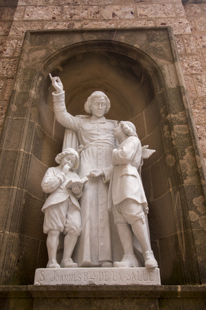 benedictine: Statues located in the benedictine abbey landmark site located in the Montserrat mountains, Spain.