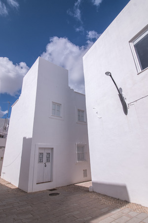 mediterranean homes: Outdoor view of the typical architecture of the cubist city of Olhao, Portugal.