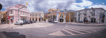 mediterranean homes: Outdoor view of the typical architecture of the city of Loule, Portugal. Stock Photo