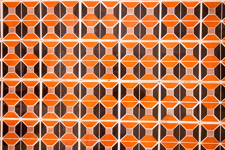 azulejo: Close view of a background wall of abstract azulejo ceramics. Stock Photo