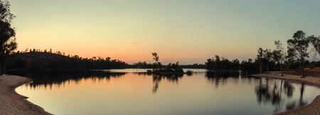 fluvial: Beautiful sunset landscape view of the fluvial beach of Mina Sao Domingos near Mertola, Portugal