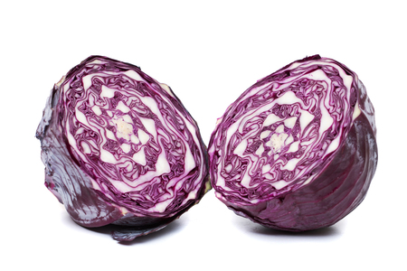 brassica: Close up view of a purple cabbage  (Brassica oleracea var. capitata f. rubra) isolated on a white background.