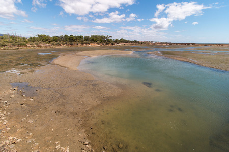 ria: Wide view of the Ria Formosa marshlands located in the Algarve, Portugal. Stock Photo