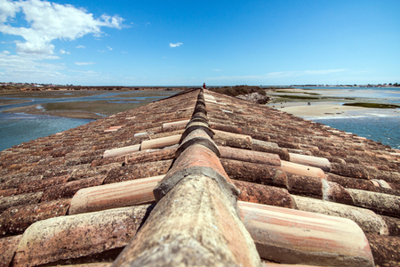 ria: View of traditional rooftops of the Algarve region next to Ria Formosa marshlands, Portugal. Stock Photo