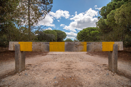 demarcation: View of a wooden barrier demarcation to enter a pine forest.