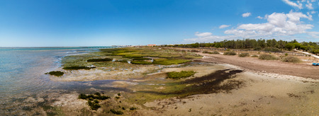 formosa: Wide view of the Ria Formosa marshlands located in the Algarve, Portugal. Stock Photo