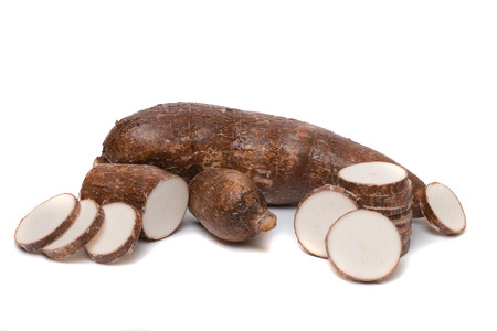 manic: Close up view of a cassava root isolated on a white background.