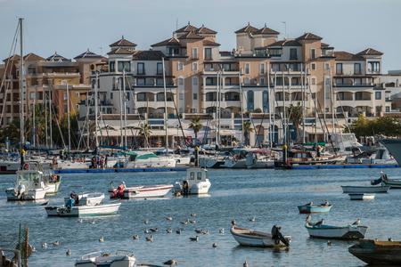 moral: Wide view of the beautiful marina of Punta del Moral, Spain.