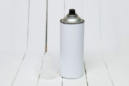 cfc: Close up view of an air pressured can blank isolated on a white background. Stock Photo