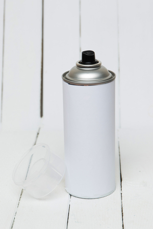 pressured: Close up view of an air pressured can blank isolated on a white background. Stock Photo