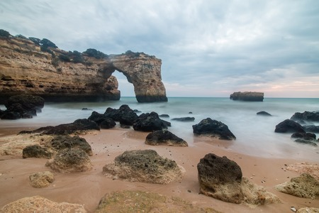 region of algarve: Beautiful low tide view of the Albandeira beach located in the Algarve region, Portugal. Stock Photo