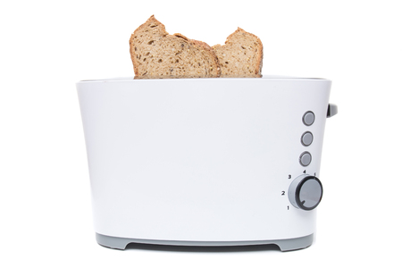 Modern toaster appliance isolated on a white background. Stock Photo