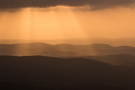 region of algarve: Mountain layers in the sunset in the Algarve region.