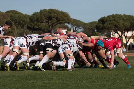 british army: VILAMOURA, PORTUGAL-APRIL 2, 2015: Rugby players in action in the Algarve Rugby Festival. Gloucester XV Vs. British Army