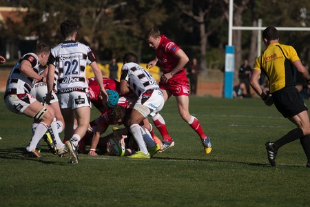 scrum: VILAMOURA, PORTUGAL-APRIL 2, 2015: Rugby players in action in the Algarve Rugby Festival. Gloucester XV Vs. British Army