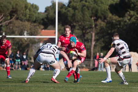 vilamoura: VILAMOURA, PORTUGAL-APRIL 2, 2015: Rugby players in action in the Algarve Rugby Festival. Gloucester XV Vs. British Army