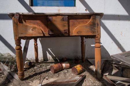 old furniture: Abandoned furniture inside an old house.