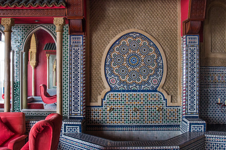 TANGIER, MOROCCO - JUNE 9, 2016: Beautiful interior design of an hotel in Tangier city, Morocco. Editorial