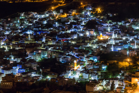 Night cityscape of the blue city of Chefchaouen located in Morocco, Africa.