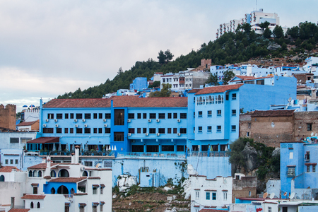 Cityscape of the blue city of Chefchaouen located in Morocco, Africa.