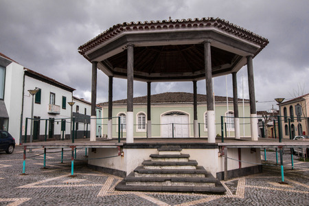 Typical Gazebo bandstand in Fenais da Luz, Sao Miguel island, Azores . Stock Photo