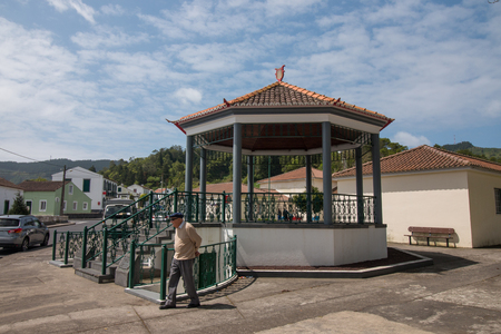 bandstand: Typical Gazebo bandstand in Sete Cidades village, Sao Miguel island, Azores . Editorial