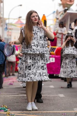 LOULE, PORTUGAL - FEB 2016: Colorful Carnival (Carnaval) Parade festival participants on Loule city, Portugal.