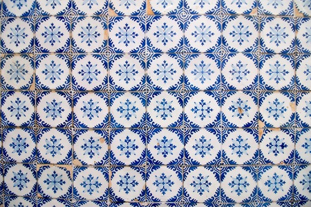 azulejo: Close view of beautiful portuguese azulejo tiles on a wall.
