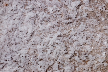sel: Close view of a delicate crust formation called Salt flower, usually of a higher quality and more expensive then regular marine salt. Stock Photo