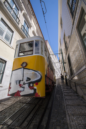 View of the famous Lavra electric funicular located in Lisbon, Portugal. Editorial