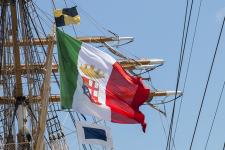 LISBON, PORTUGAL: 22nd july, 2016 - Tall Ships race is a  big nautical event where big majestic ships with sails are presented to the public for visitation. Editorial