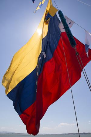 bandera de venezuela: Vista de la gran bandera Venezuela flotando sobre un cielo azul.
