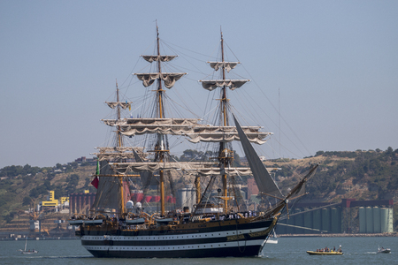bandera de portugal: LISBON, PORTUGAL: 25th july, 2016 - Tall Ships race is a  big nautical event where big majestic ships with sails are presented to the public for visitation. Editorial