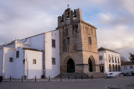 View of the historical church of Se, located in the old downtown of Faro city, Portugal.