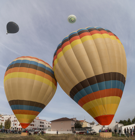 View of the ascension of colorful hot air balloons festival. Editorial