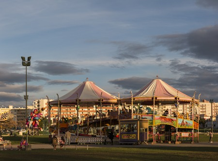 colorfully: View of a colorfully vintage carousel in the park.