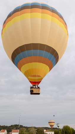 View of the ascension of colorful hot air balloons festival. Stock Photo