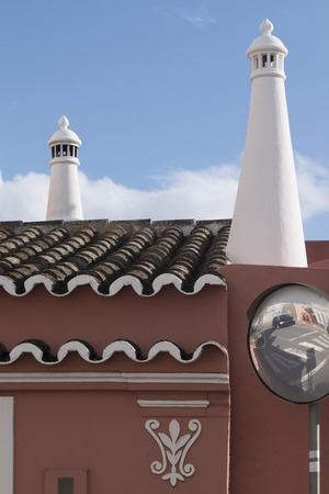 algarve: View of typical beautiful Algarve chimney architecture.