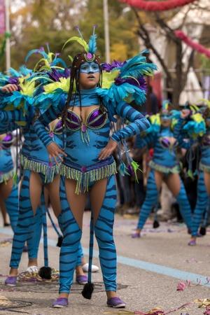 allegoric: LOULE, PORTUGAL - FEB 2017: Colorful Carnival (Carnaval) Parade festival participants on Loule city, Portugal.