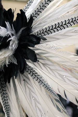 allegoric: Close view of the design elements of the dress of a female colorful Carnival (Carnaval) Parade festival dancer.