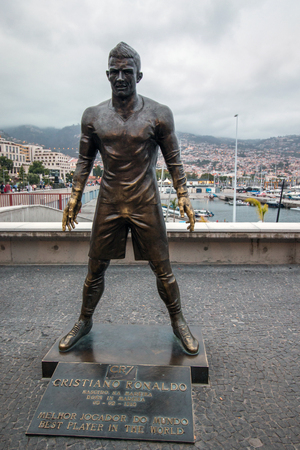 FUNCHAL, PORTUGAL- 17th JUNE, 2017: Statue of Cristiano Ronaldo, famous soccer player  in Funchal.