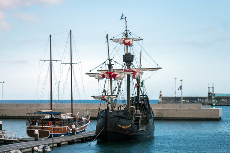 View of an amazing Replica of a Portuguese Caravel vessel, that pioneered the Atlantic sea travels during the Navigation Discovery Era.