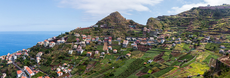 Wide view of the typical Mountain landscapes of Madeira Island, Portugal.